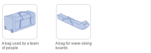 A bag used by a team of people and a bag for wave-skiing boards